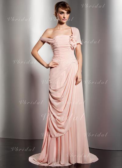 Sexi Gasa Corte A/Princesa Cremallera Botones cubiertos Vestidos de noche (017014578)