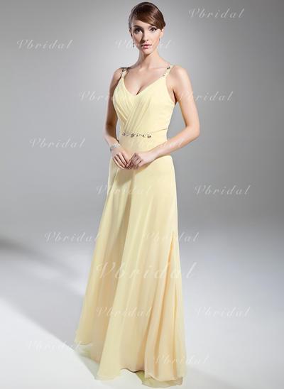 Elegant シフォン Aライン/プリンセスライン2 アップジッパー イブニングドレス (017014746)