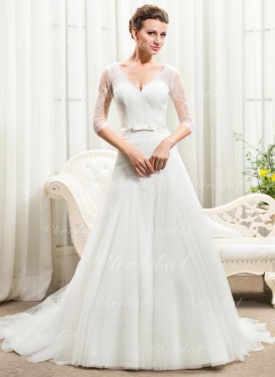 Mangas Corazón con Tul Encaje Vestidos de novia (002210578)
