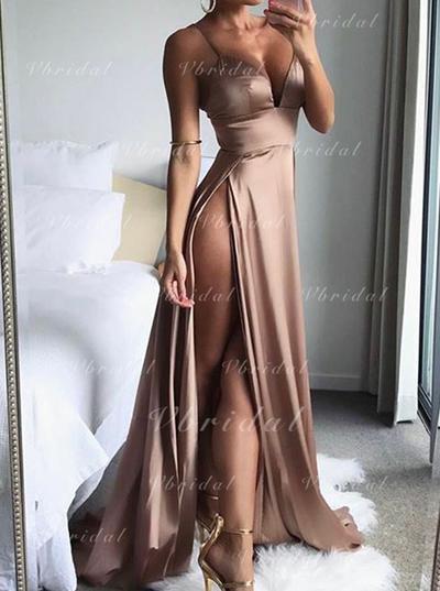 A-Line/Princess Sweep Train Prom Dresses V-neck Charmeuse Sleeveless (018146501)
