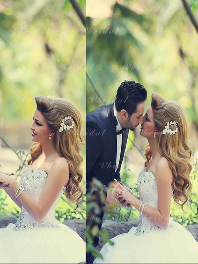 Cuentas Lentejuelas Corte de baile con Tul Vestidos de novia (002148000)
