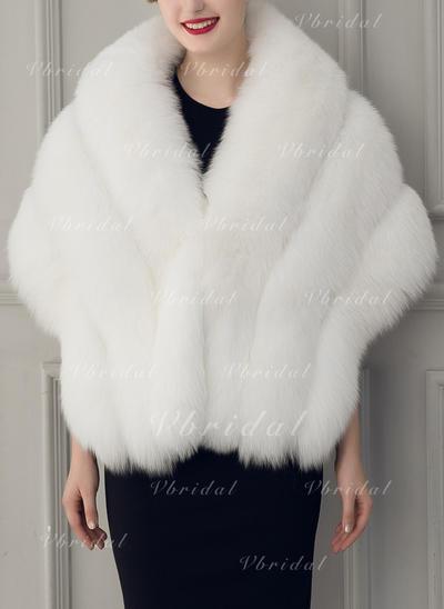 Wrap Fashion Faux Fur Half-Sleeve With Bow Wraps (013150546)