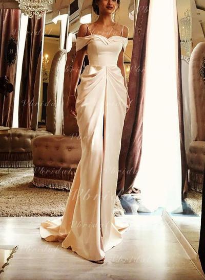 Sin mangas Barrer/Cepillo tren Satén Vestido tubo Vestidos de novia (002146932)