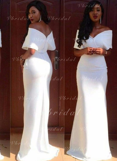 Magnificent Stretch Crepe Evening Dresses Sheath/Column Sweep Train Off-the-Shoulder Short Sleeves (017210017)