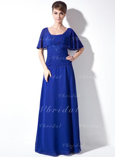 ラッフル レース ビーズ スパンコール スクエアネック Elegant シフォン ミセスドレス (008003502)