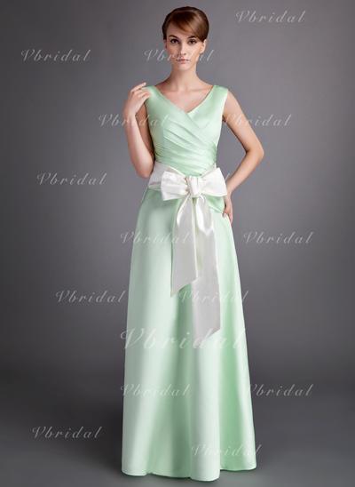 Aライン/プリンセスライン2 マキシレングス サテン マキシレングス ブライドメイドドレス (007001060)