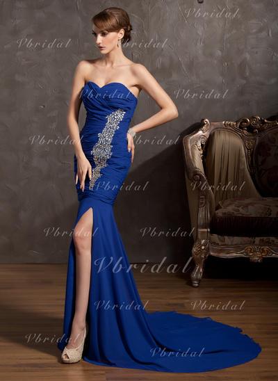 Gorgeous シフォン マーメイド アップジッパー イブニングドレス (017014865)
