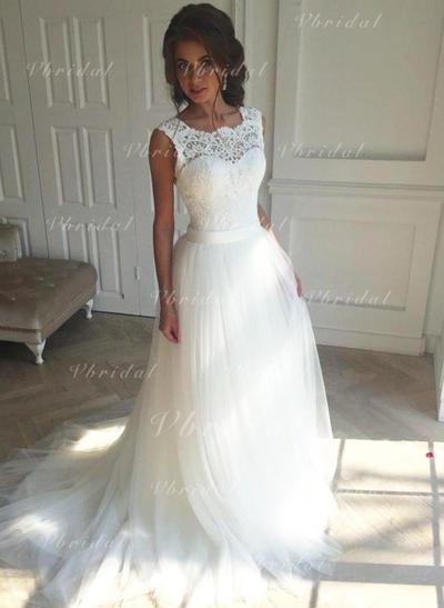 Sin mangas Tirantes comunes Tul Corte A/Princesa Vestidos de novia (002147809)