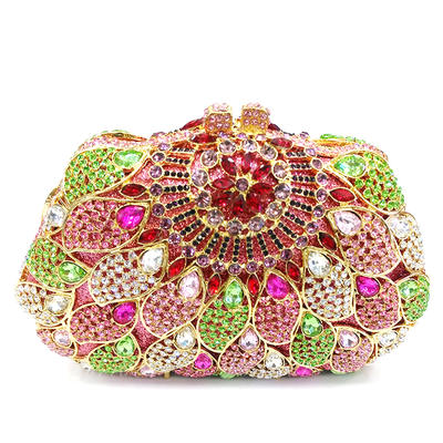 Clutches/Luxury Clutches Wedding/Ceremony & Party Crystal/ Rhinestone/Alloy Kiss lock closure Gorgeous Clutches & Evening Bags (012186146)