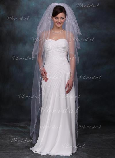 вальс фаты Тюль Четыре слоя Фата закрывающая лицо с Обрезанная кромка Свадебная вуаль (006020355)