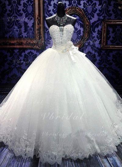 Corazón Hasta el suelo - Corte de baile Tul Vestidos de novia (002148236)
