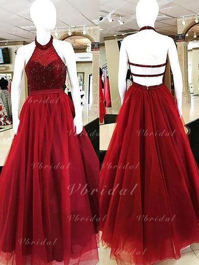 Ball-Gown Tulle Halter Strapless Prom Dresses (018210291)