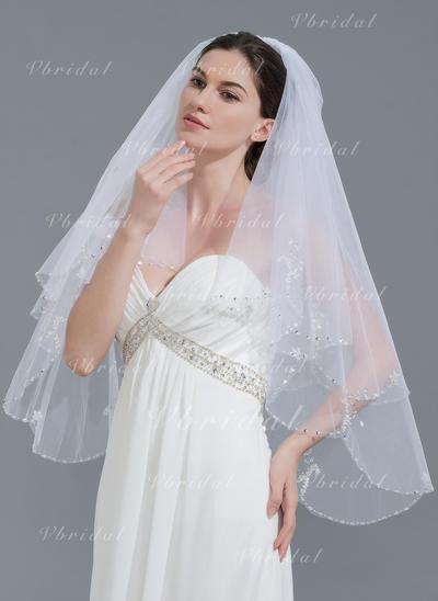Yema del dedo velos de novia Tul Dos capas Estilo clásico con Con abalorios Velos de novia (006109846)