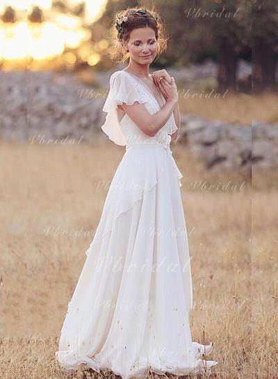 V-neck A-Line/Princess Wedding Dresses Chiffon Lace Bow(s) Cascading Ruffles Short Sleeves Floor-Length (002213453)