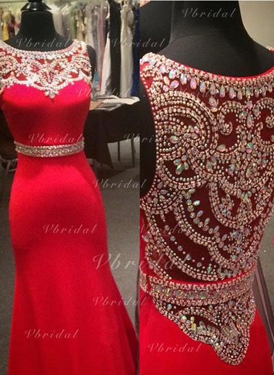Magnífico Corte trompeta/sirena Escote redondo Jersey Vestidos de baile de promoción (018144676)