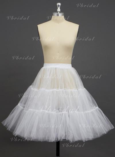 Petticoats Knee-length Tulle Netting A-Line Slip/Half Slip 2 Tiers Petticoats (037190739)