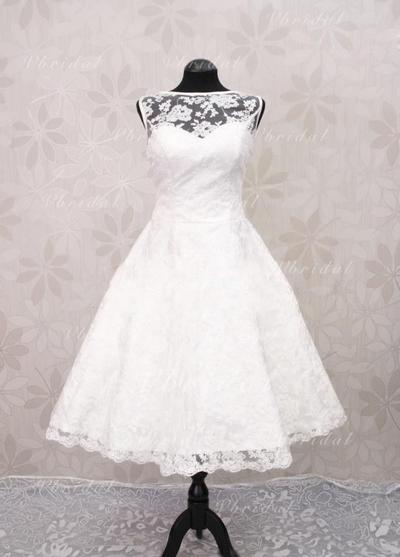 Bola Hasta la tibia - Corte A/Princesa Encaje Vestidos de novia (002148518)