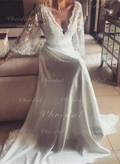 Modern Sash A-Line/Princess With Chiffon Wedding Dresses (002147942)