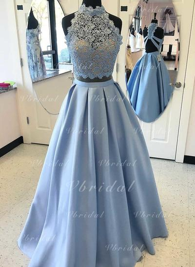 A-Line/Princess Satin Prom Dresses Elegant Floor-Length High Neck Sleeveless (018196669)