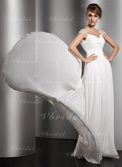 Moda Escote en V Corte A/Princesa Gasa Vestidos de noche (017005601)