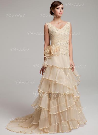 Organdí Corte A/Princesa Barrer/Cepillo tren Corazón Vestidos de novia (002211440)