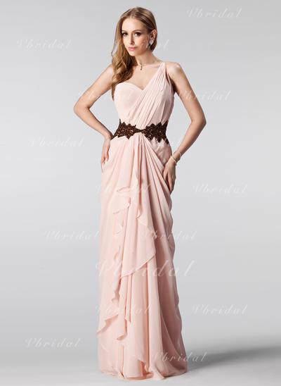 Aライン/プリンセスライン2 袖なし ラッフル ビーズ スパンコール カスケードフリル シフォン プロム用ドレス (018004909)
