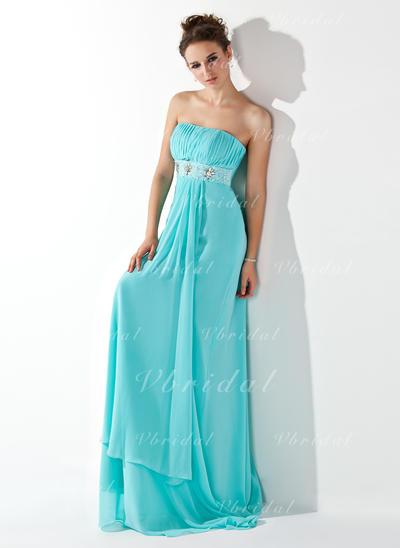 Modern ストラップレス エンパイア シフォン イブニングドレス (017013773)