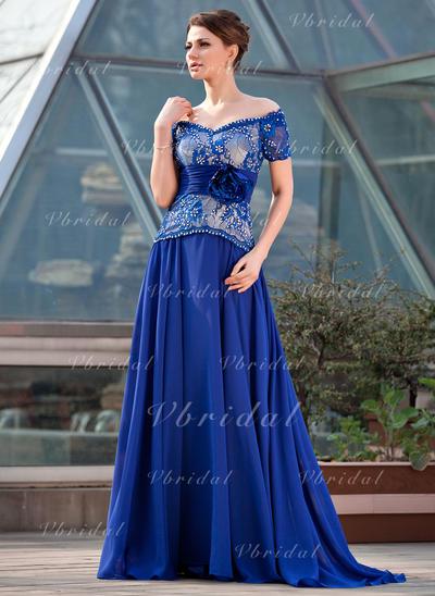 Corte A/Princesa Fuera del hombro Gasa Encaje Novísimo Vestidos de madrina (008211464)