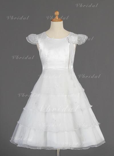Длина ниже колен Короткие Рукава Органза/Шармёз с Glamorous Платья девочки-цветочка (010014660)