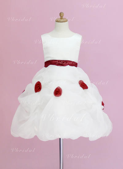 Fashion スクープネック プリンセスライン1 オーガンザ/サテン フラワーガールドレス (010005328)