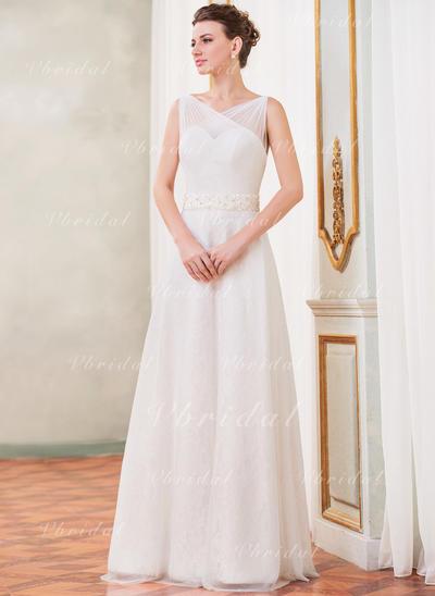 Delicado Sin mangas Corazón con Tul Encaje Vestidos de novia (002210525)