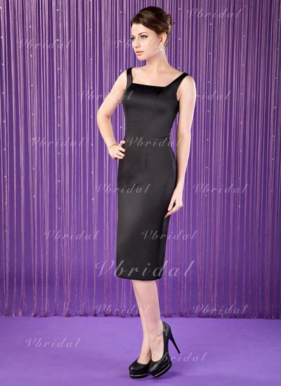Novísimo Satén Escote Cuadrado Vestido tubo Vestidos de madrina (008006311)