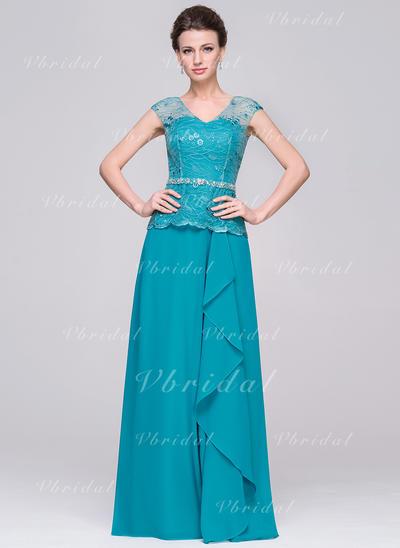 Corte A/Princesa Gasa Moda Escote en V Vestidos de madrina (008210605)