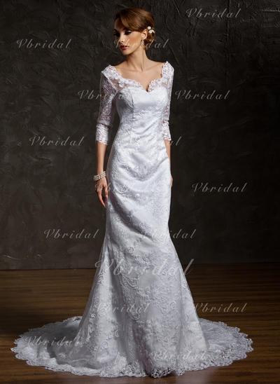 Corazón Corte trompeta/sirena - Encaje Vestidos de novia (002211044)
