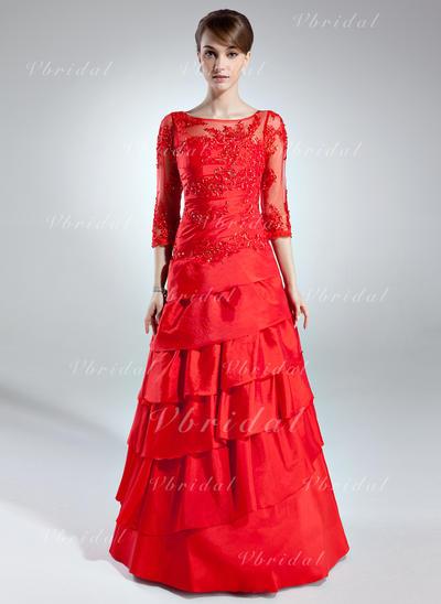 Elegante Tafetán Escote redondo Corte A/Princesa Vestidos de madrina (008006255)