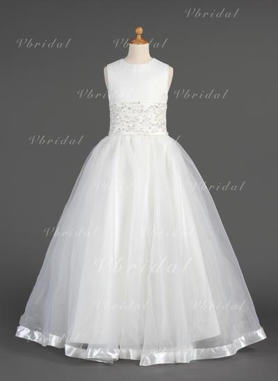 Aライン/プリンセスライン2 マキシレングス フラワーガールのドレス - オーガンザ 袖なし スクープネック とともに レース/ビーズ (010014604)