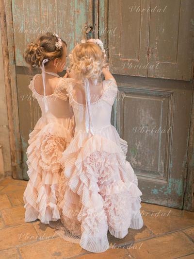 Escote redondo Corte A/Princesa Vestidos para niña de arras Volantes Sin mangas Hasta el suelo (010145238)