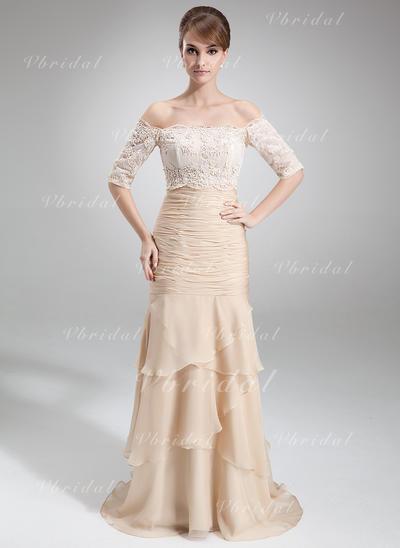 Elegante Gasa Sin tirantes Corte trompeta/sirena Vestidos de madrina (008006299)