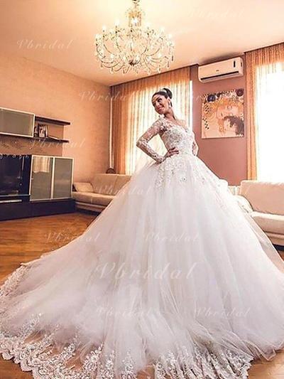 Elegante Cuello de pico Corte de baile Vestidos de novia Cola corte Tul Mangas largas (002210833)
