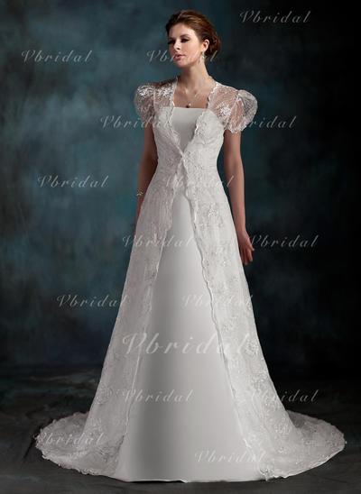 Novísimo Satén Corazón Sin mangas Vestidos de novia (002001254)