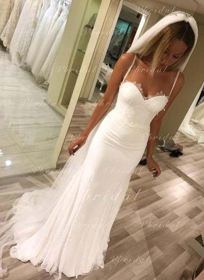 Sweetheart Sheath/Column Wedding Dresses Chiffon Lace Sleeveless Sweep Train (002146941)