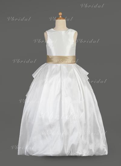 Halagador Escote redondo Corte de baile Tafetán/Encaje Vestidos para niña de arras (010014634)