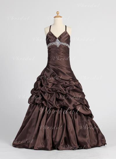 Corte A/Princesa Hasta el suelo Tafetán - Deslumbrante Vestidos para niña de arras (010005885)