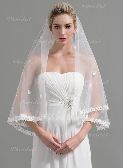 Velos de novia vals Tul Uno capa Estilo clásico con Con Aplicación de encaje Velos de novia (006094957)