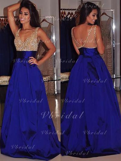 Ball-Gown Sweep Train V-neck Satin Prom Dresses (018148466)