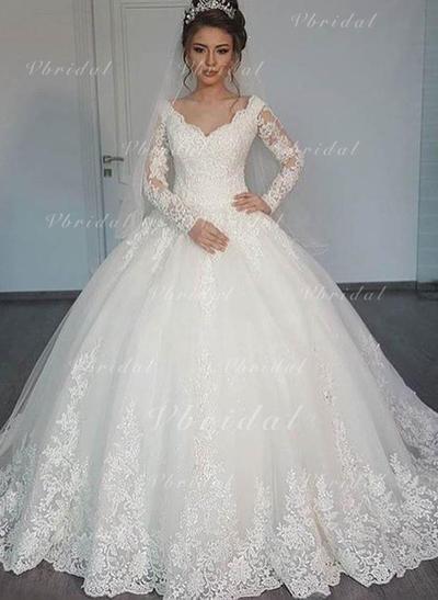 Corte de baile Tul Mangas largas Cuello de pico Hasta el suelo Vestidos de novia (002147806)