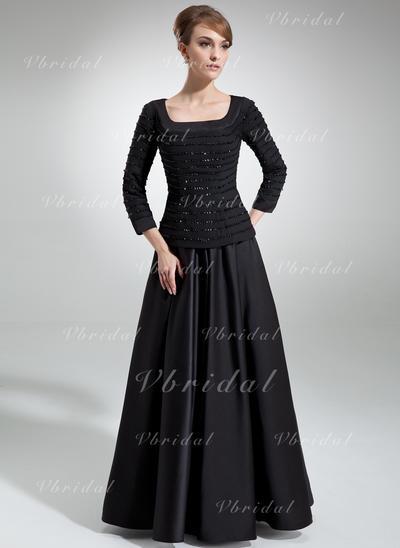 Chic Gasa Satén Escote Cuadrado Corte A/Princesa Vestidos de madrina (008006314)