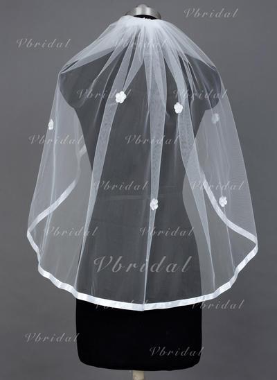 Fingertip Bridal Veils Tulle One-tier Mantilla With Ribbon Edge Wedding Veils (006151574)