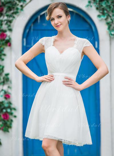 Corazón Corte A/Princesa Vestidos de novia Tul Volantes Mangas cortas Hasta la rodilla (002210562)