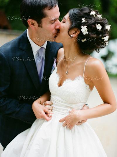Hasta el suelo Corte de baile Tirantes espagueti - Satén Vestidos de novia (002146240)